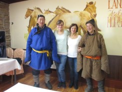 We met our first real Mongolian men in traditional clothes