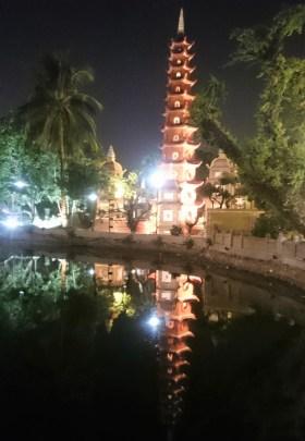 Pagoda at West Lake by night