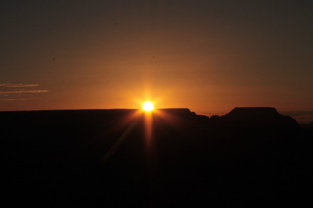 sun rise at the Grand Canyon. Dark silhouette