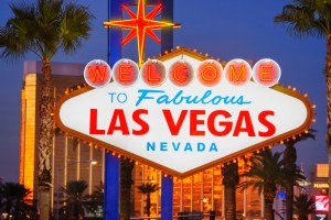 Sign that says Welcome to Fabulous Las Vegas Nevada. Night time pic