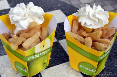 Apple Fries with whipped topping in green and yellow Legoland box picture of green apples on the box