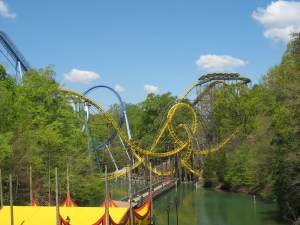 Loch Ness Monster ride in treed area with lots of loops