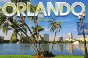 Orlando Florida city in back ground and palm trees in the front