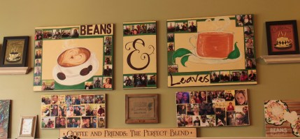 pictures on wall of coffee, tea and customers