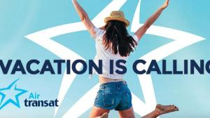 Happy girl jumping in front of Air Transat star