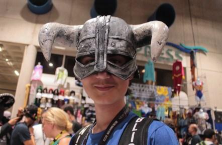 helmet with horns on my nephew's head