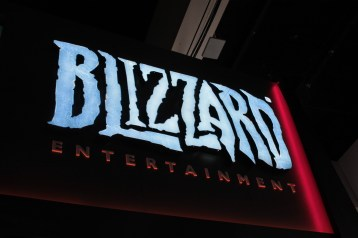 Sign for Blizzard Entertainment in ice blue and red