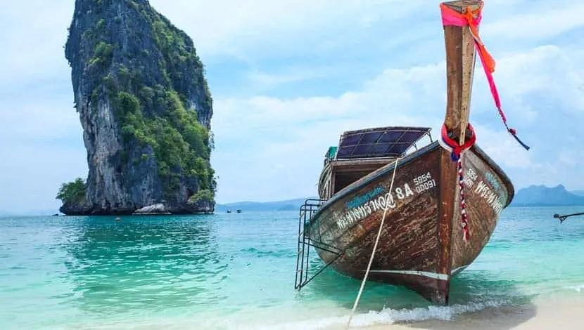 Railey Beach Thailand long tail boat