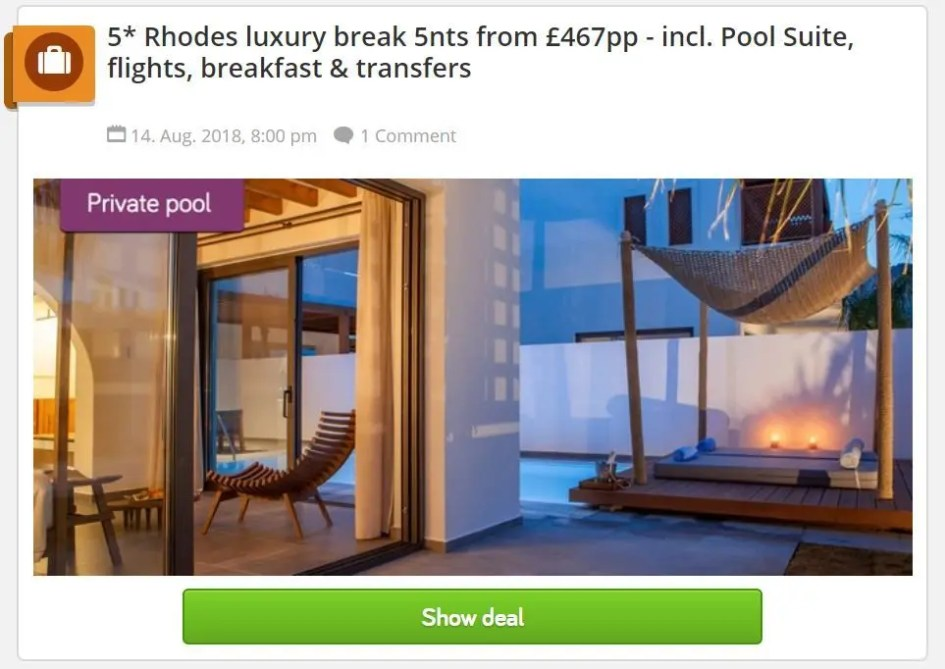 Cheap Rhodes holidays - Holiday Pirates - Deal 1
