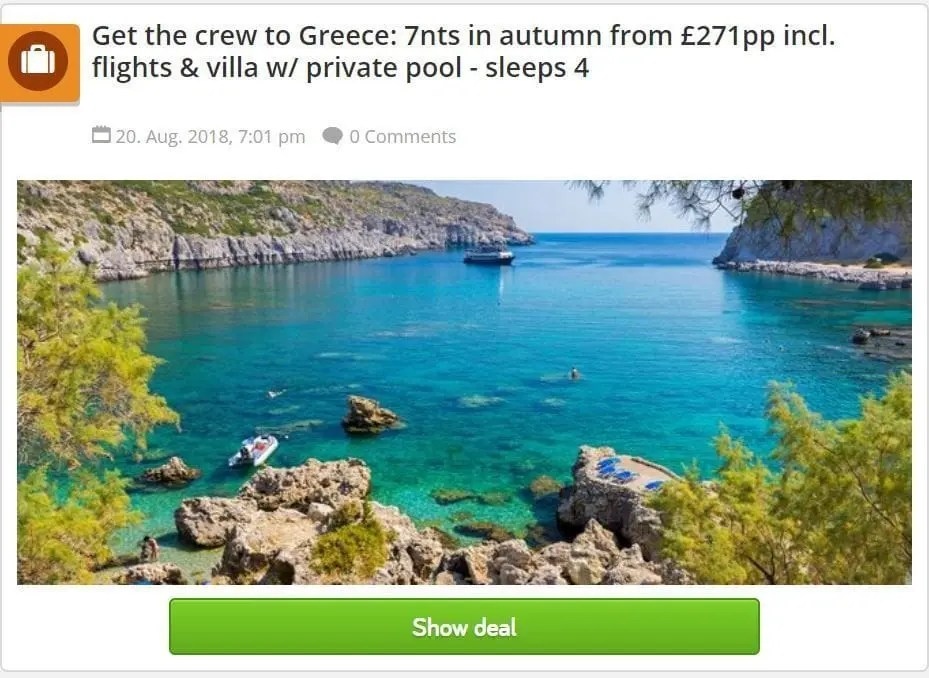 Cheap Rhodes holidays - Holiday Pirates - Deal 2