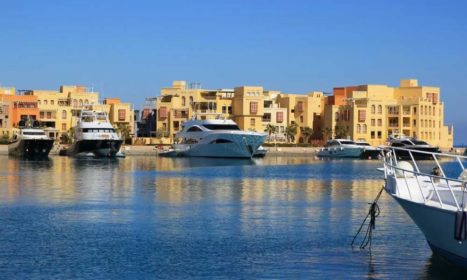 El Gouna Egypt - depicts El Gouna marina and Egyptian buildings