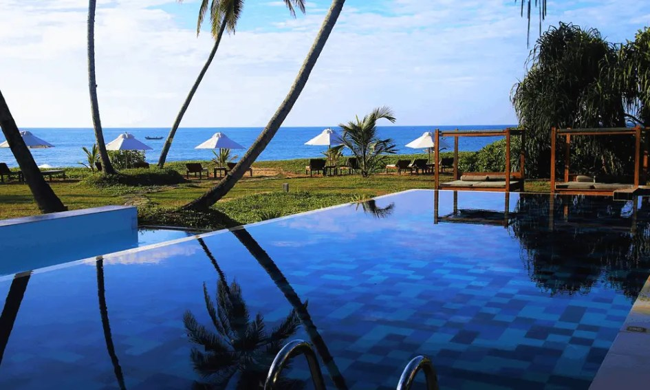 Depicts luxury villa in Sri Lanka - Cheap beach holiday destinations