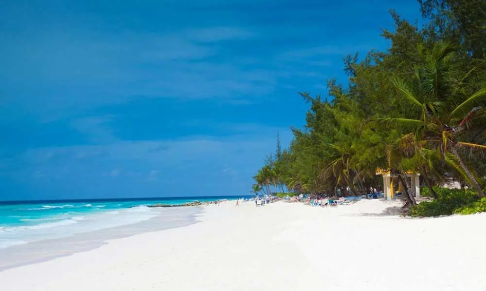 Shows a white-sand Barbados beach - Long haul beach holidays in July