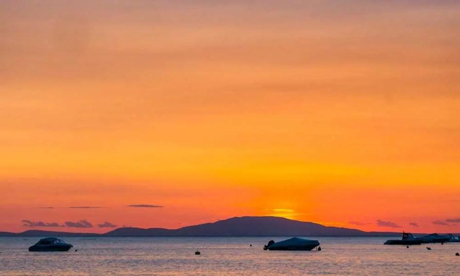Novalja Nightlife - shows orange sunset