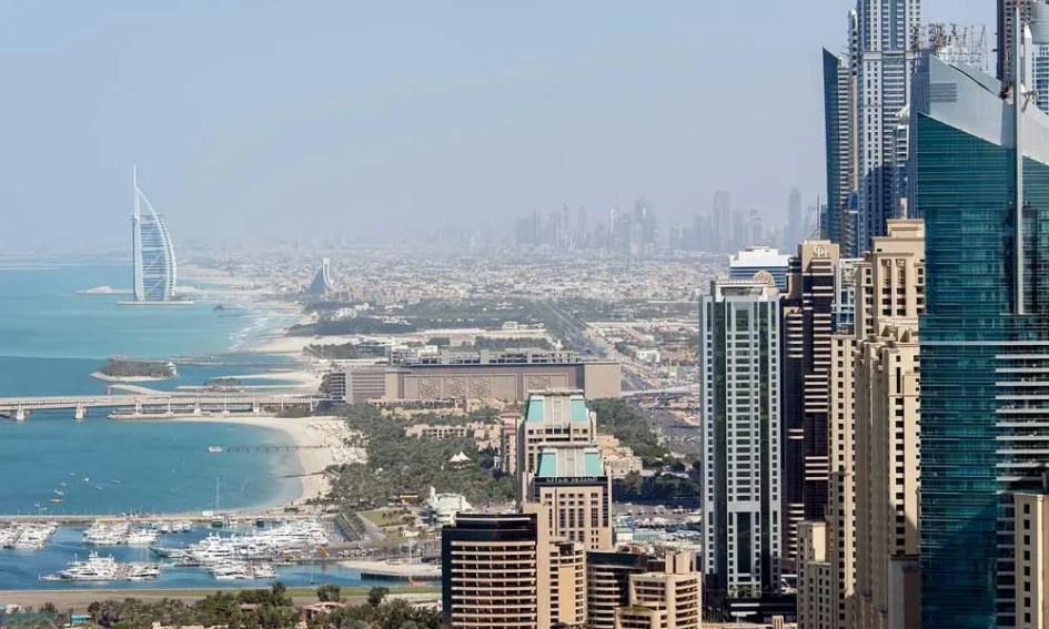 Shows Dubai cityscape - September beach holiday ideas