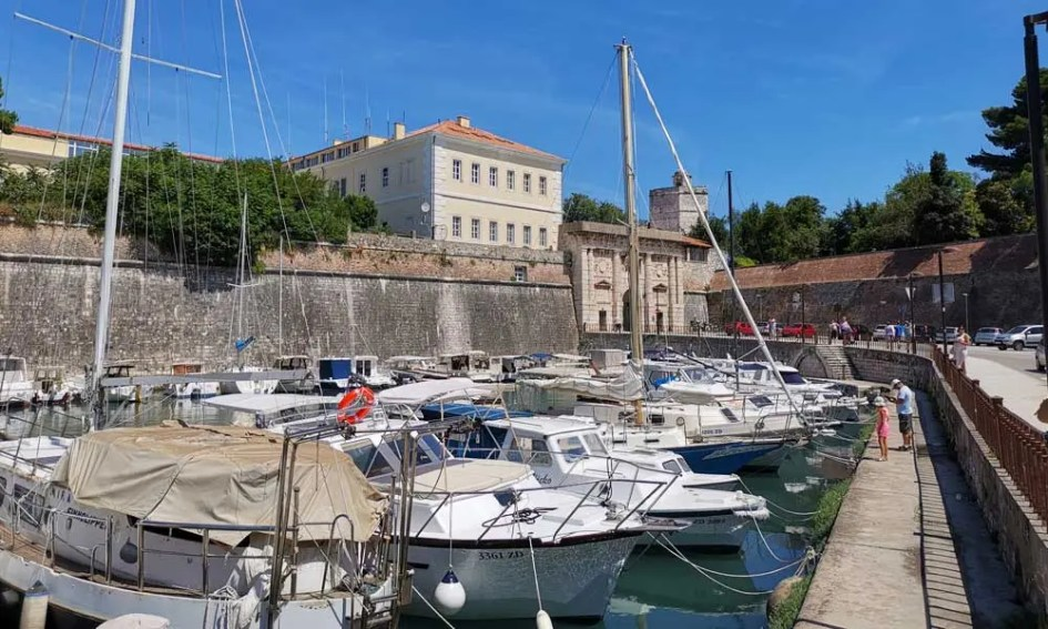 Things to do in Zadar - Shows one of Zadar's marina's and the Land Gate