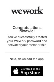 WeWork Platinum Global Access - Membership Activation.