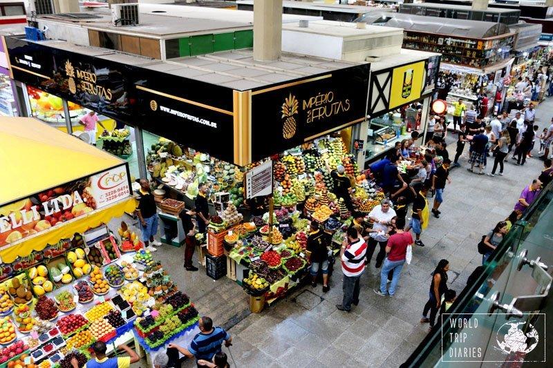 fruit stalls mercadao sao paulo brazil