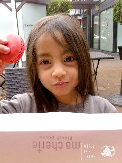 Coral with her little box of macarons