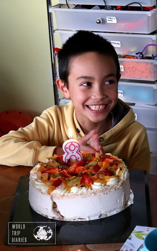 Jose and his birthday pavlova
