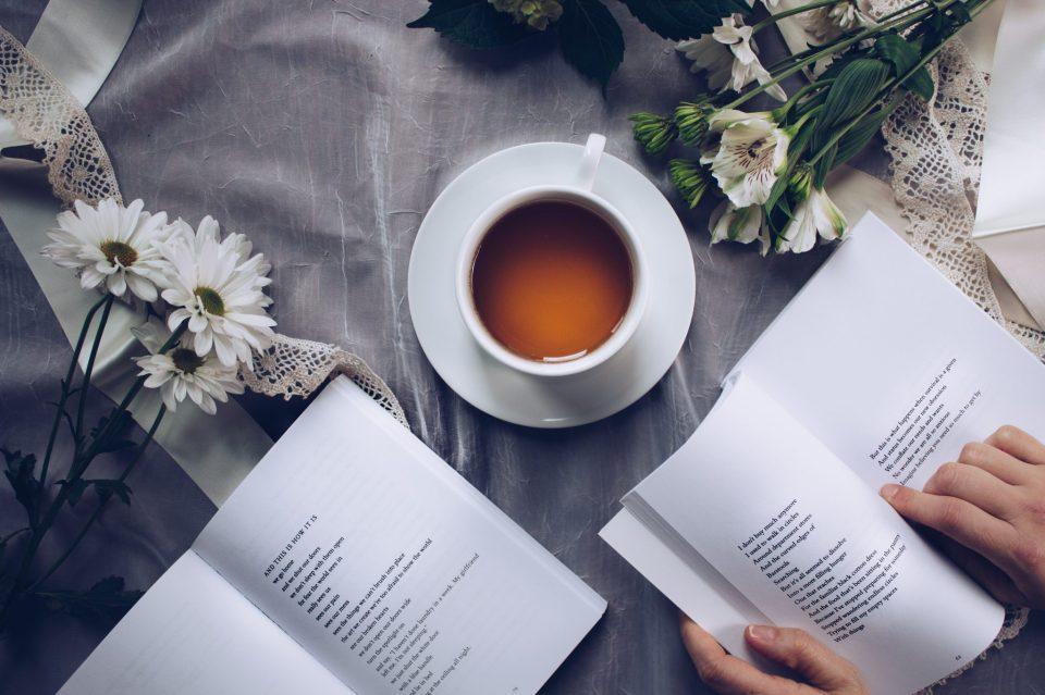 Image of tea and books
