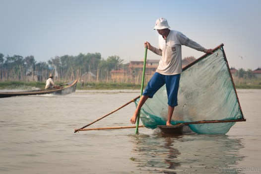 One leg rowing fisherman