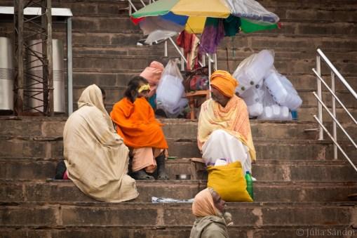 Sadhus (holy men) at the Ghats of Varanasi
