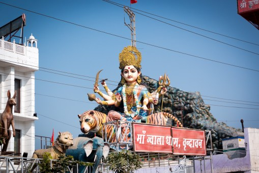 Colorful statues all around Vrindavan