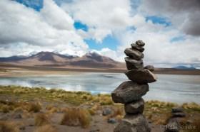 "The ""Apacheta"" marks the road on the Inca trails."