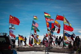 In the middle of the Salar de Uyuni - but no Austrian or Hungarian flags, and we were unprepared :(