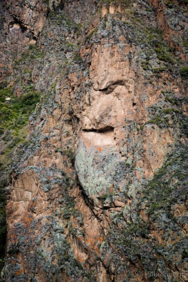 The carved face of Wiracocha in Ollantaytambo