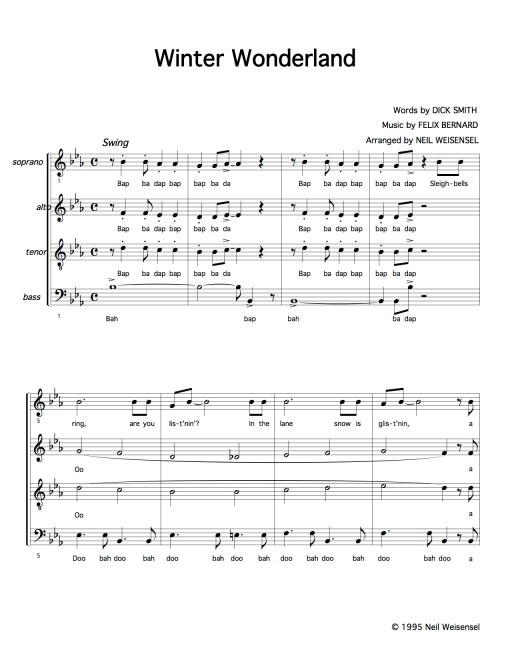 Winter Wonderland SATB choral arrangement
