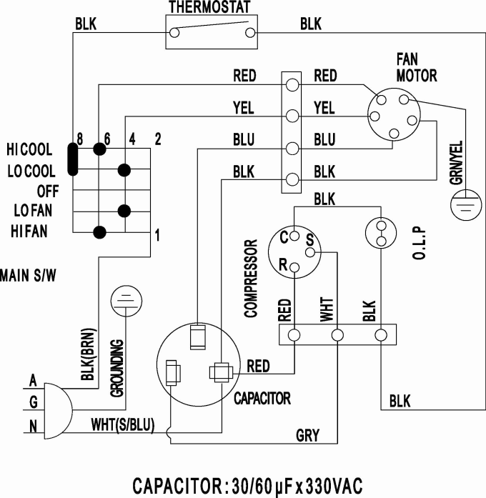 wiring diagram of split type air conditioner  truck trailer