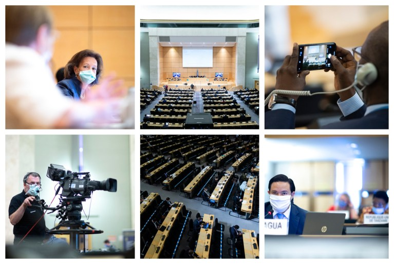 montage of UN Human Rights Commission meeting