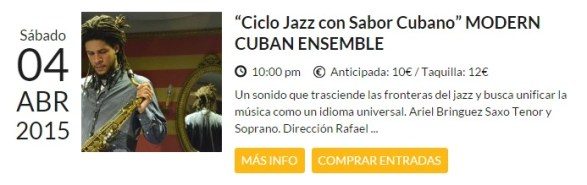 04 de abril - Modern Cuban Ensemble en el Bogui Jazz de Madrid