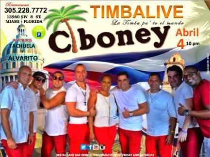 04 de abril - Timbalive en Ciboney Cuban Restaurant de Miami, Florida