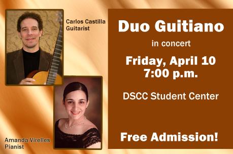 10 de abril - Dúo Guitiano en Dyersburg State Community College de Dyersburg, Tennessee