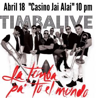 18 de abril - Timbalive en el Casino Jai Alai de Miami, Florida