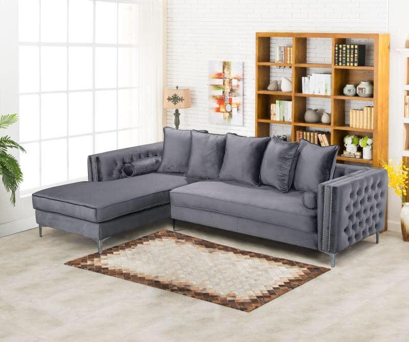 designer button sided plush velvet corner sofa