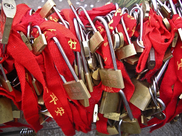 Locks for good luck at Confucious Temple at Mount Tiashan