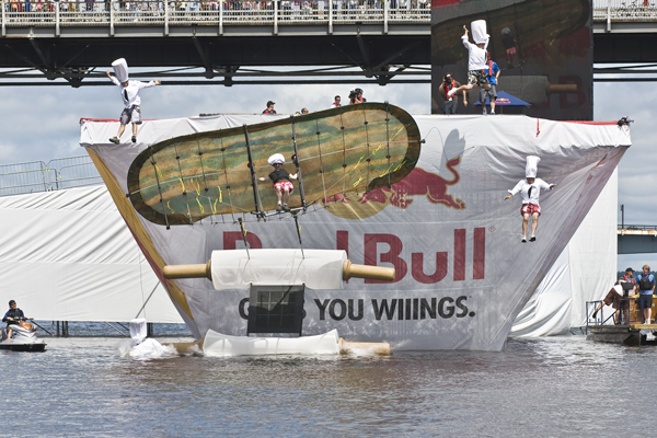 Doh! The Grat Beavertail Cookoff entry from Ottawa does it's flying thing at the Ottawa-Gaineau Red Bull Flugtag In Ottawa Ontario, August 3rd, 2008