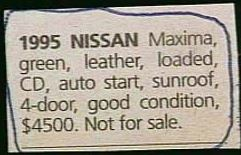 Image result for funny classifieds ads images 1995 nissan