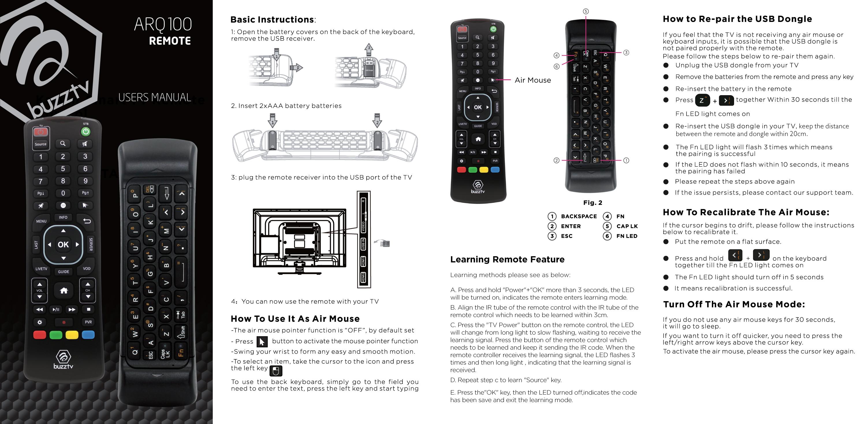 Buzztv Arq 100 Wireless Air Mouse Keyboard Remote