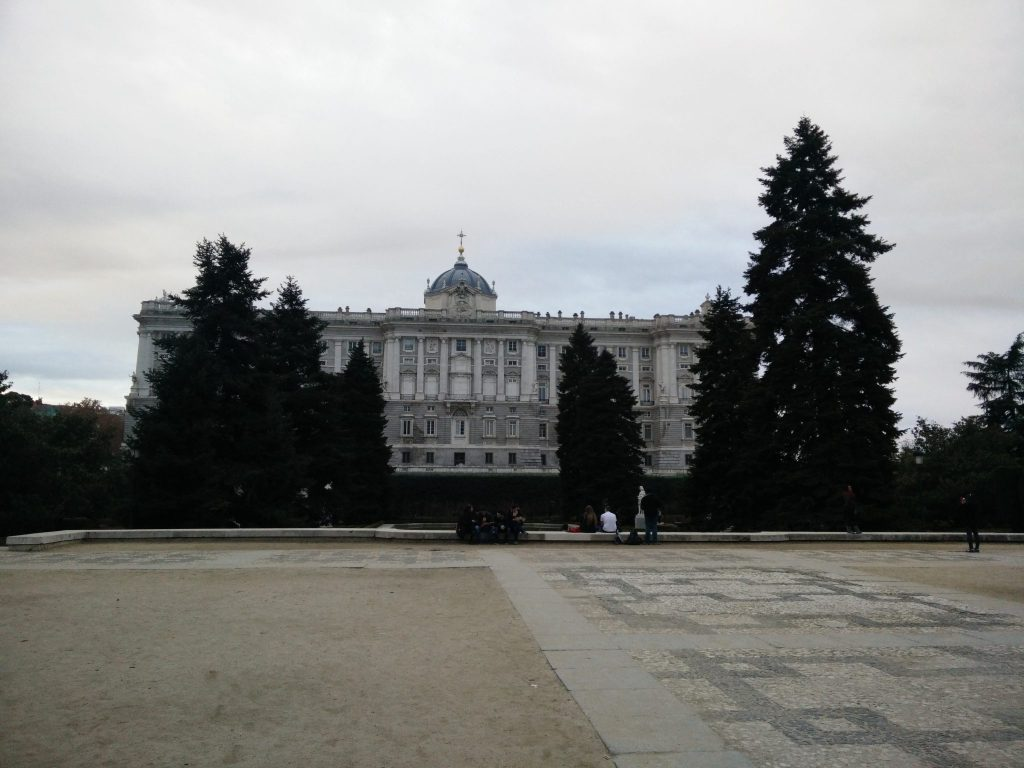 Royal palace of Madrid seen from the front