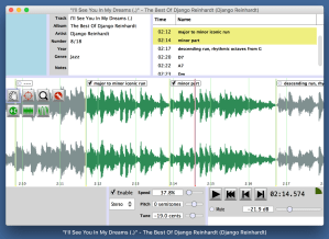 A screenshot of SlowGold 8 in actions, displaying how different sections of a recording can be labelled and selected for playback in this slow down program.