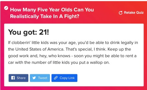 Five year old quiz result