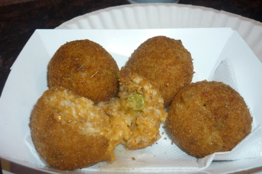 Prince Street Pizza Rice Ball Stuffed with with Meat and Peas