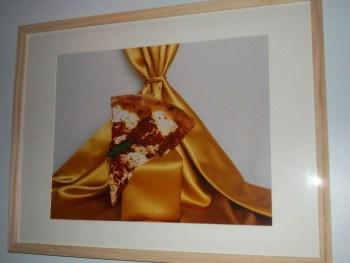 Pizza on Gold Satin