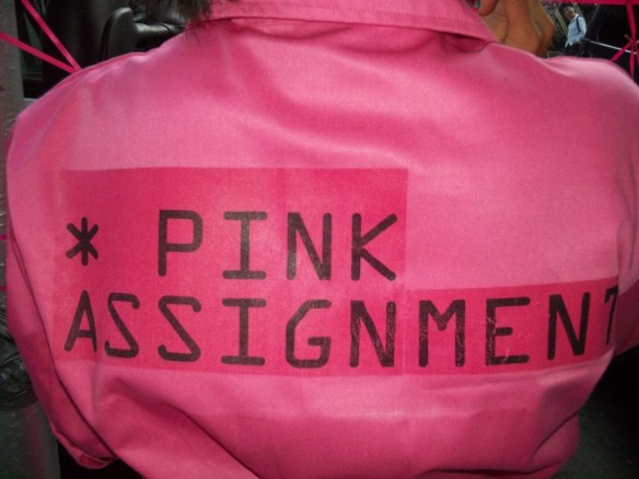 Pink Assignment Logo on Jumpsuit Back