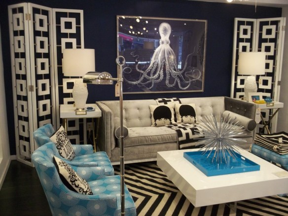 Jonathan Adler Blue Living Room With Octopus